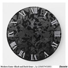 Modern Camo -Black and Dark Grey- camouflage Large Clock