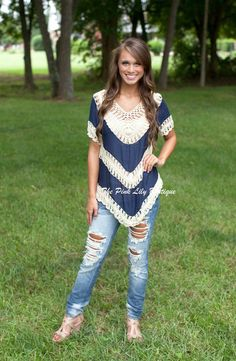 Crochet Knit Top Navy and Cream!