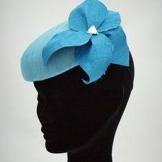 Flora Pill Box Hat - Teal Silk Dupion pill box hat with a soft silk flower and Swarovski crystal detail.