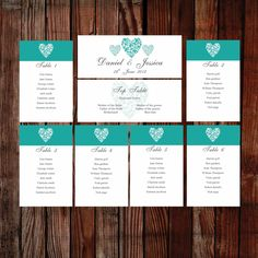 Printable table plan. Trio of hearts teal. Easy to edit and print at home. View the full collection. Original design by Love Wedding Designs.