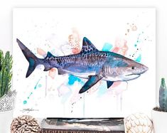 Great white shark watercolor painting print by Slaveika Watercolor Whale, Watercolor Horse, Watercolor Paintings, Original Paintings, Sea Life Art, Sea Art, Ocean Life, Painting Prints, Wall Art Prints