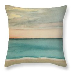 Ocean Beach Throw Pillow featuring the painting Ocean Beach by Vesna Antic