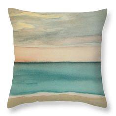 Ocean Beach Throw Pillow featuring the painting Ocean Beach by Vesna Antic