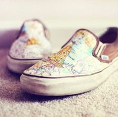 55770679cc558 20 Mod Podge DIY shoe projects - including these map slip ons! Lots of fun