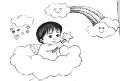 Baby Art Crafts, Arts And Crafts, Safari, Snoopy, Fictional Characters, Painting On Fabric, Love Rain, Cloud Drawing, Bebe