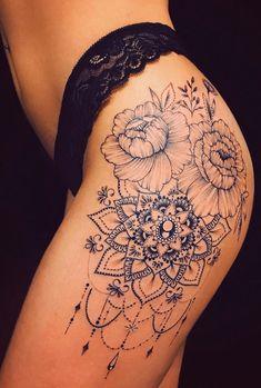 50 of the Most Beautiful Mandala Tattoo Designs for Your Body & Soul - KickAss Things Mandala Tattoos For Women, Floral Mandala Tattoo, Dope Tattoos For Women, Leg Tattoos Women, Mandala Tattoo Design, Disney Mandala Tattoo, Hip Tattoo Designs, Celtic Tattoos, Flower Hip Tattoos