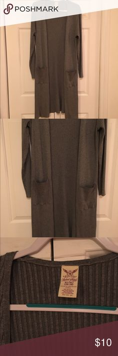 Long cardigan Long mid-calf open front cardigan, rib knit, patch pockets Faded Glory Sweaters Cardigans