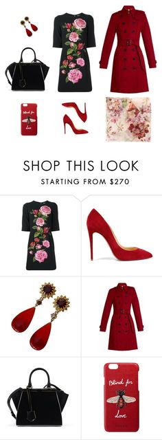 """""""Pink and red"""" by charlottes-styles on Polyvore featuring mode, Dolce&Gabbana, Christian Louboutin, Burberry, Fendi, Gucci, roses, blindforlove en charlottesstyles"""