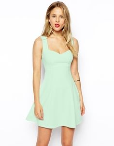 $23, Mint Skater Dress: Asos Collection Sleeveless Sweetheart Skater Dress In Texture. Sold by Asos. Click for more info: http://lookastic.com/women/shop_items/75119/redirect