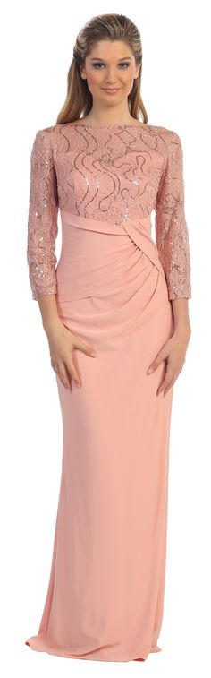 Column Blush Evening Gown Long Mid Length Sleeves Lace #discountdressshop #blush #formaldress #chiffon #sequins #glitter #columndress #motherofbridedress