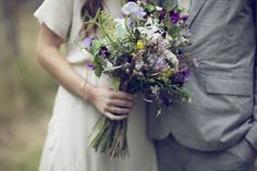 wild purple, green, white and yellow bouquet