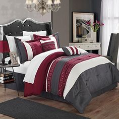 Carlton Burgundy Grey  White Queen 6 Piece Comforter Bed In A Bag Set ** Learn more by visiting the image link.