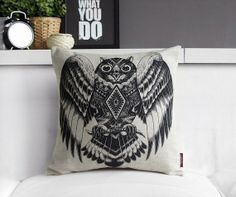 Nordic Indian Tribal Owl Pillow Cover Boho Indie Scandanavian Throw Pillow Cushion Cover Linen Native American