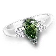 Jewelry Point - 1.39ct VS1 Pear Cut Green Diamond 3 Stone Engagement Ring, $3,790.00 (http://www.jewelrypoint.com/1-39ct-vs1-pear-cut-green-diamond-3-stone-engagement-ring/)