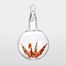 Origami Crane by Adam Parsley (Art Glass Ornament)