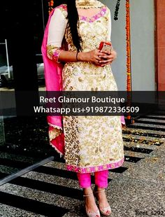 Splendid Off White And Pink Embroidered Punjabi Suit Product Code : Reet_s292 To Order, Call/Whats app On +919872336509 We Offer Huge Variety Of Punjabi Suits, Anarkali Suits, Lehenga Choli, Bridal Suits,Sari, Gowns Etc .We Can Also Design Any Suit Of Your Own Design And Any Color Combination