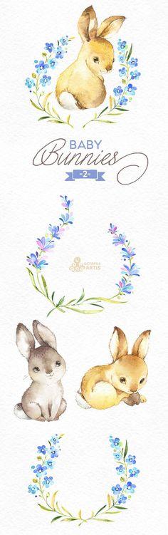 This Baby Bunnies 2 set of 11 high quality hand painted watercolor images. Perfect graphic for any projects, babyshowers, wedding invitations, greeting cards, photos, posters, quotes and more. ----------------------------------------------------------------- This listing includes: 11 x