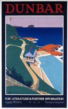Dunbar 2 Poster Route Railway Vintage Beautiful View Advert Poster East Lothian