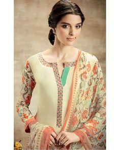 Cream Soft Cotton Salwar Suit