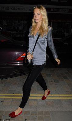 Silky siren: Poppy Delevingne headed to Chiltern Firehouse in London on Thursday night in a satin blouse and velvet slippers