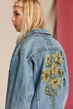 UO Design X Urban Renewal Vintage Floral Painted Denim Jacket