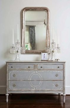 Rescue. Restore. Redecorate. I love the color of this dresser. Reminds me of driftwood.