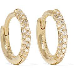 Jennifer Meyer Huggie 18-karat gold diamond hoop earrings ($2,690) ❤ liked on Polyvore featuring jewelry, earrings, accessories, gold, 18 karat gold earrings, diamond jewelry, diamond earrings, handcrafted jewelry and pave diamond earrings