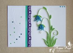 flower branch, quill card, blue, nice flower, embossed cards