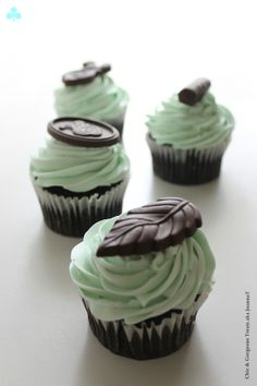 After Eight Mint Chocolate Cupcakes (sour cream chocolate cake, dark chocolate ganache, Peppermint Swiss Meringue Buttercream)