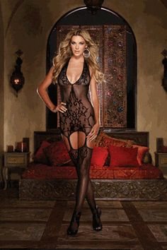 Olympia  - Sheer halter garter dress with knitted baroque design detailing, adjustable halter tie closure and attached stockings.
