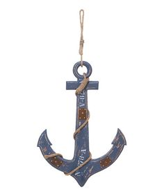 Take a look at this Blue Distressed Rope Anchor by UMA Enterprises on #zulily today!