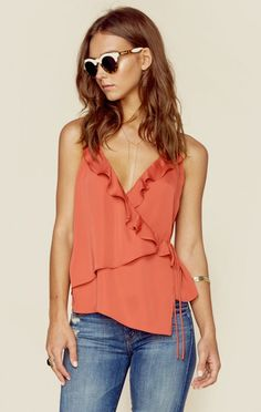 L'Academie's Ruffle Cami features a crossover bodice with ruffle detailing and tie closure, slinky soft fabrication, and relaxed body. Style Feminin, Feminine Style, Fashion Idol, Boho Fashion, Boho Outfits, Fashion Outfits, Casual Chique, Altering Clothes, Affordable Clothes