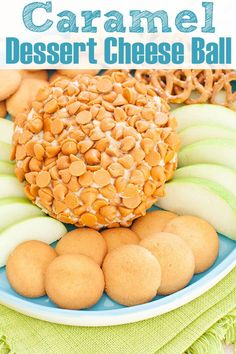 This no bake caramel cheesecake cheese ball with seat salt is bursting with caramel flavor and crunchy topping. An easy, make ahead dessert idea for a summer party or potluck. Also can make into a basketball dessert dip. #desserts #dips #caramel #cheesecake #nobake #sweets