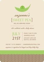 Brown and Green Sweet Pea Baby Shower Invite