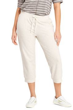 db5814e7cdf Lands  End Women s Plus Size French Terry Crop Jogger Pants-White Canvas  Heather