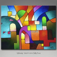 Original Painting, acrylic painting, urban art, urban painting, 30x24 inches, Urbanity, Made to Order, by Sally Trace