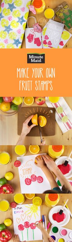 Turn boredom into creativity with this simple and fun art project idea for kids to do at home! Inspired by your favorite Minute Maid Juices and Drinks, stamp your way to a #doingood moment together. For more ideas and instructions go here: http://www.minutemaid.com/blog/Minute0Maid-Fruit-Stamp-Art/