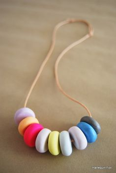 Beautiful Polymer Clay Necklace by HarlequinFox on Etsy, $25.00