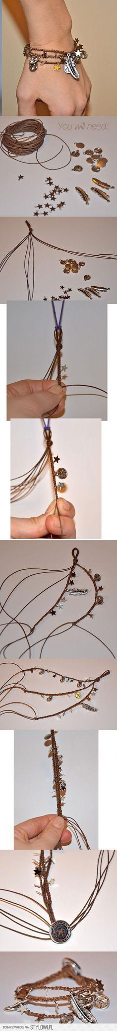 DIY: cord and charm bracelet, from the styleowl website, which includes a number of pictorials for homemade jewelry and other lifestyle DIY projects