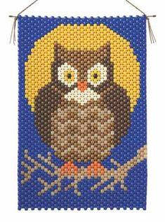 Owl Beaded Banner Kit - The Beadery Craft Products 5858 - This wise old Owl is hooting for you! Completed Size: x inches x 38 cm) Cross Stitch Fabric, Beaded Cross Stitch, Cross Stitch Kits, Cross Stitch Embroidery, Cross Stitch Patterns, Pony Bead Patterns, Owl Patterns, Beading Patterns, Embroidery Patterns