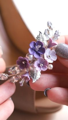 Crochet Jewelry Patterns, Bead Embroidery Jewelry, Polymer Clay Flowers, Polymer Clay Earrings, Bridal Hair Accessories, Bridal Jewelry, Lavender Shoes, Handmade Wire Jewelry, Decorated Shoes