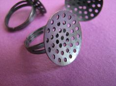 20 mm Adjustable Ring Base with Perforated by Turkeysupply http://etsy.me/1B6dbOU #jewelry #ring #mount #brass #jewel #gem #bezel #setting
