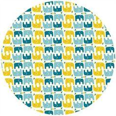 Rebekah Ginda for Birch Organic Fabrics, Frolic, KNIT, Ellie Stagger Boy   Fiber Content: 100% Organic Cotton Interlock Knit   Pattern: elephants look like they may be 1-1 1/2 inch long (see website)