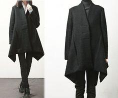 407Women's Boiled Wool Black Trapeze Coat A-line Winter by EDOA