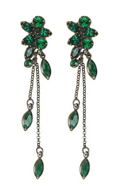 Simple and sweet, these emerald Kenny Ma Cluster Stone Drop Earrings will light up your vintage-inspired look!