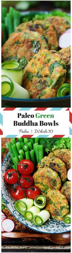 Paleo Green Buddha Bowls. Healthy and light Paleo recipes with golden crispy veggie fritters to help you eat more leafy greens ! IHeartUmami.com