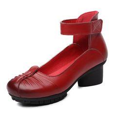 Socofy Retro Block Sandals