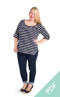 The Cashmerette Patterns Concord T-Shirt is a versatile sewing pattern, designed for curves! The T-Shirt pattern features 3 necklines, 3 hem lengths, 3 sleeve types, and more.. and in sizes 12 - 28 and cup sizes C - H. Available as a printed pattern, or an instant-gratification PDF.