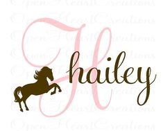 Girl Name Wall Decal - Initial and Name with Horse Clip Art - Vinyl Wall Decal for Baby Nursery Bedroom Girl Teen 22h x 32w IN0033. $45.00, via Etsy.