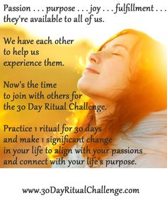 I LOVE this idea. --> Win a seat in the 30-Day Ritual Challenge #30dayritualchallenge